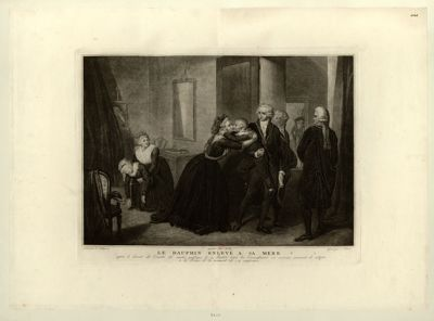 Le  Dauphin enlevè à sa mere après le decret du Comité de sureté publique le 1, Juillet 1793 les Commissaires en exercice viennent le notifier a la Reine, et la somment de s'y conformer : [estampe]
