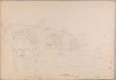Basilica di Costantino, prospetto sul Foro con sfondo del Colosseo
