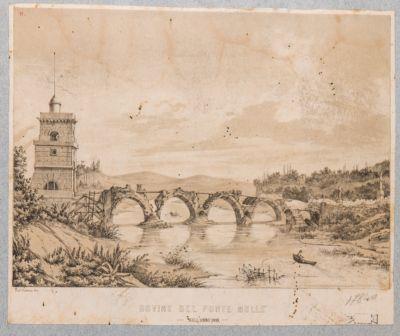 Ponte Milvio, veduta generale dalla riva destra del ponte dopo la demolizione di esso da parte di Garibaldi