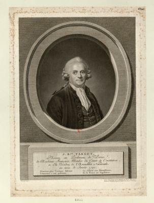 J.B.te Target avocat au Parlement de Paris, de l'Academie française, membre du comité de constitution, et élu président de l'Assemblée nationale, au mois de janvier 1790 : [estampe]