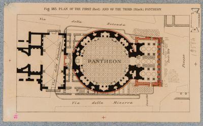 Plan of the First (Red) and of the third (black) Pantheon