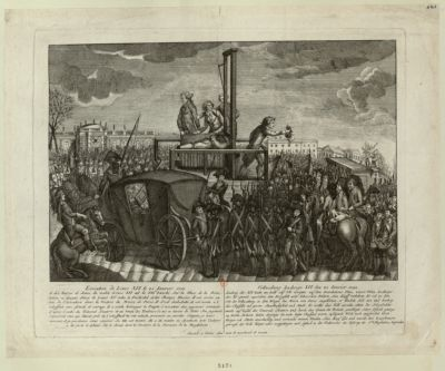 <em>Exécution</em> de Louis XVI le 21 Janvier <em>1793</em> A dix heures et demie du matin Louis XVI eut la Fête [sic] tranché... : [estampe]