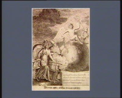 Dedie aux bons patriotes le Fanatisme armé d'un crucifix amene la Discorde en France mais le génie de ce royaume découvre leurs manoeuvres & les menace de son glaive : [estampe]