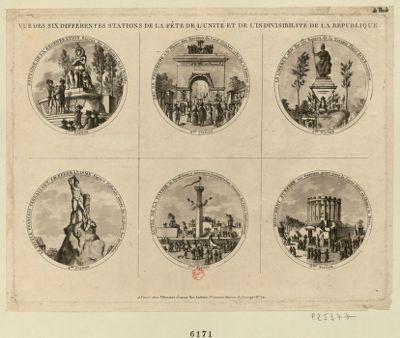 Vue des six différentes stations de la fête de l'unité et de l'indivisibilité de la République [estampe]