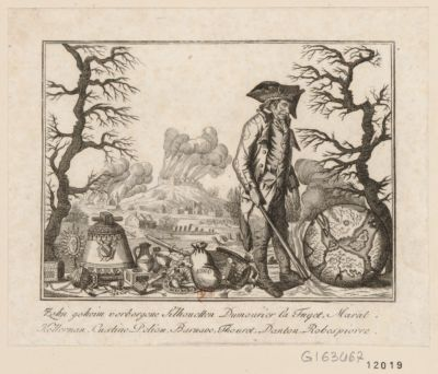 Zehngeheim verborgene Silhouetten Dumourier La Fayet, Marat, Kellerman, Custine, Petion, Barnave, Thouret, Danton, Robespierre [estampe]