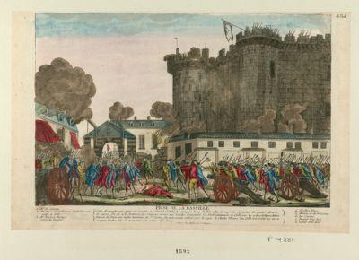 Prise de la Bastille cette forteresse qui avait scu resister au Grand Condé fut attaquée le 14 juillet 1789.. . : [estampe]