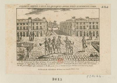 Anecdote arrivée à Louis XVI , quelques jours après sa résidence à Paris le roi traversant la place de Louis XV, un enfant qui balayait le passage lui demanda quelque piece de monnaye, en l'appelant Mr le Chevalier. Le roi lui donna 6 L. Je n'ai pas de quoi vous rendre, dit l'enfant. Un des personnages qui suivoient S. M. dit, gardes l'écu, le Monsieur n'est pas chevalier, il est l'ainé de la famille : [estampe]
