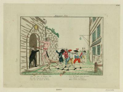 Monsieur Veto quel est donc le seigneur Veto, qui plus bruyant que Figaro, sans être du canton de Berne veut du peuple faire un zéro, sans redouter ce numéro, Menez le vite à la lanterne : [estampe]