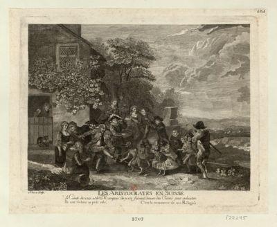 Les  Aristocrates en Suisse le comte de XXX et le marquis de XXX faisant danser des chiens pour subsister... : [estampe]