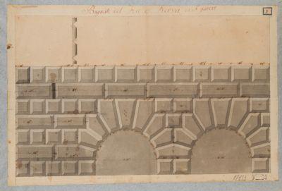 Foro d'Augusto, recinzione, particolare degli archi d'ingresso a sinistra