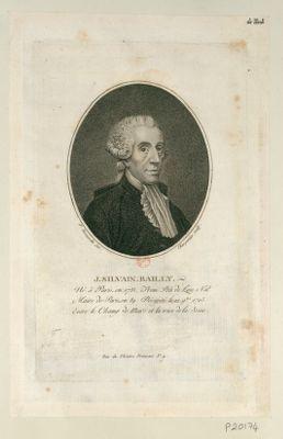 J. Silvain Bailly né à Paris, en 1735. prem. prés. de l'Ass. nat.le, maire de Paris, en 89. Décapité le 12 9.bre 1793, entre le Champ de Mars et la rive de la Seine : [estampe]