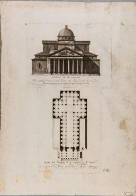Portico di Marco Agrippa applicato per decorare l'attuale facciata della chiesa di S. Spirito in Firenze