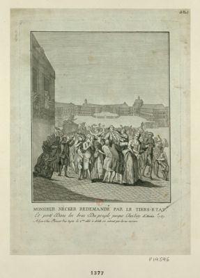 Monsieur Nécker redemandé par le Tiers-Etat et porté dans les bras du peuple jusque chez luy, l'année 1789 : [estampe]