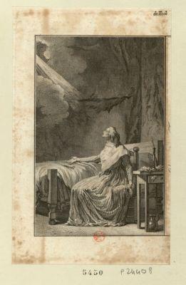 [Marie Antoinette dans sa prison, à la Conciergerie, et plan de la chambre de la reine] [estampe]