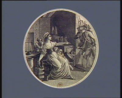 Trait héroïque d'une c.ne de la Vendée les ennemis s'étant rendus maîtres de Saint Milhier, une jeune femme entourée de ses enfants était assise tranquillement dans sa boutique sur un baril de poudre... : [estampe]