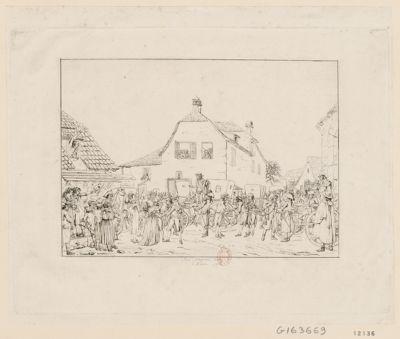 Entrée dans le village suisse de Riechen du canton de Basle, des députés et ministres françois prisonniers en Autriche le 26 décembre 1795 pour être échangés contre la princesse Marie-Therese Charlotte, fille de Louis XVI : [estampe]