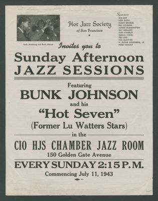 Flyer for Sunday Afternoon Jazz Session with Bunk Johnson and Lu Watters' stars at the CIO hall