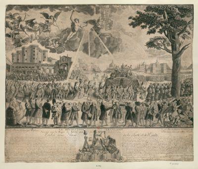 La  Révolution française, arrivée sous le regne de Louis XVI les 14 juillet 1789 et <em>10</em> août <em>1792</em> dediée aux amis de la liberté et de l'égalité du haut du ciel, on voit <em>l'auguste</em> vérité resplendissante... : [estampe]