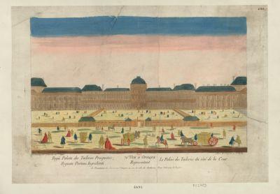 71.<em>e</em> vue d'optique representant le Palais des Tuileries du côté de la cour [estampe]
