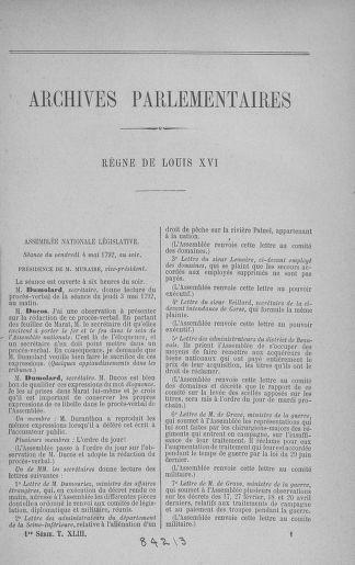 Tome 43 : Du 4 au 22 mai 1792 - page 1