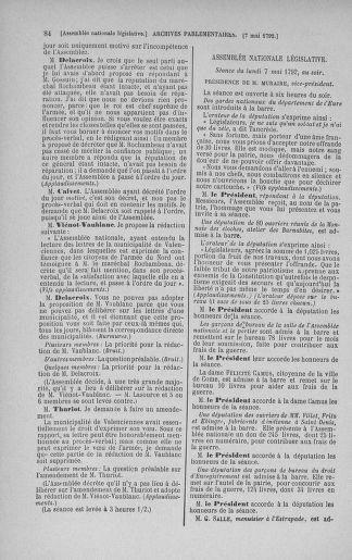 Tome 43 : Du 4 au 22 mai 1792 - page 84