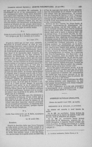 Tome 43 : Du 4 au 22 mai 1792 - page 103