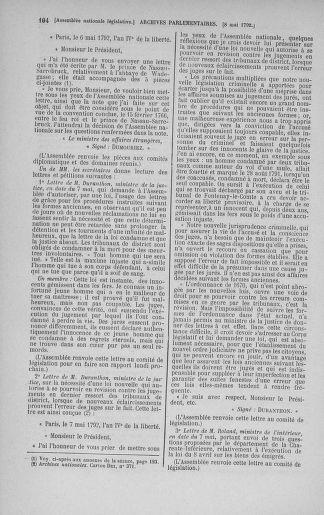 Tome 43 : Du 4 au 22 mai 1792 - page 104