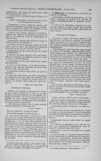 Tome 43 : Du 4 au 22 mai 1792 - page 197