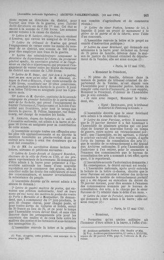 Tome 43 : Du 4 au 22 mai 1792 - page 265