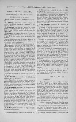 Tome 43 : Du 4 au 22 mai 1792 - page 395