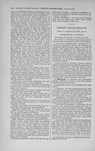 Tome 43 : Du 4 au 22 mai 1792 - page 418