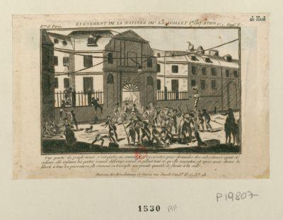 Evénement de la matinée du 13 juillet 1789 a Paris une partie du peuple armée s'est portée au couvent des Lazaristes pour demander des subsistances, ayant êté refusée elle enfonca les portes,... : [estampe]