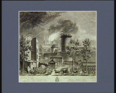 Vüe de l'incendie, arrivée à la charpente de la nef du choeur, & de la croisée de l'église cathédrale St. André de Bordeaux le 25 aoust 1787. a 10 heures du matin prise du coté du fort Duha, sur le cours d'Alebret [estampe]