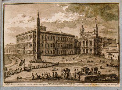 Piazza di S. Giovanni in Laterano. Obelisco, fontana e campanile