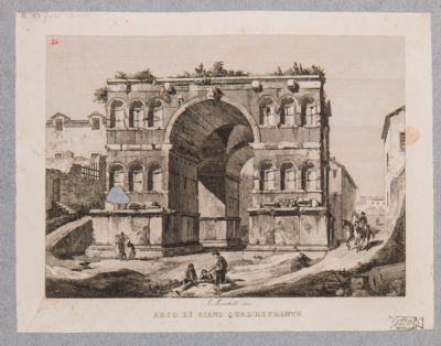 Giano del Velabro, veduta della fronte che guarda il Palatino