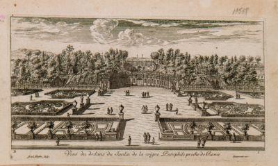 Veduta dei giardini della Vigna Pamphili presso Roma