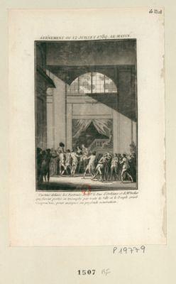 Événement du 12 juillet 1789 - le matin Curtius délivre les portraits de Mgr le duc d'Orléans et de Mr Necker qui furent portés en triomphe par toute la ville et le peuple criait chapeau bas, pour marquer sa profonde vénération : [estampe]