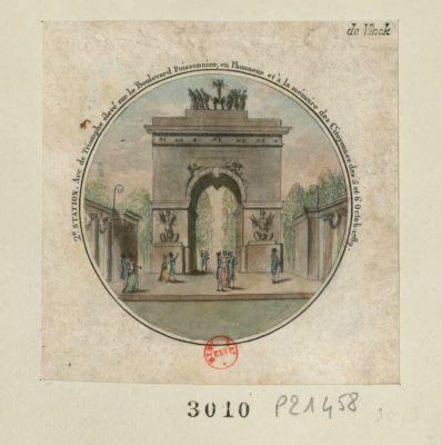 2e station arc de triomphe élevé sur le boulevard Poissonnier, en l'honneur et à la mémoire des citoyennes des 5 et 6 octob. 1789 : [estampe]