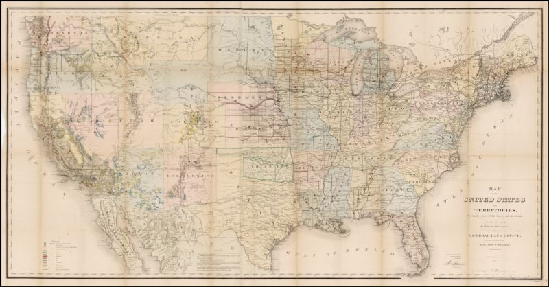 Map of the United States and Territories, Showing the extent of Public Surveys and other Details. Constructed From the Plats and official sources of the General Land Office . . . 1867