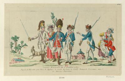 Journée memorable du <em>6</em> octobre <em>1789</em> départ de Versailles pour <em>Paris</em> de Messieurs les Gardes du corps, et Gardes nationale parisiennes, avec les heroïnes parisiennes : [estampe]