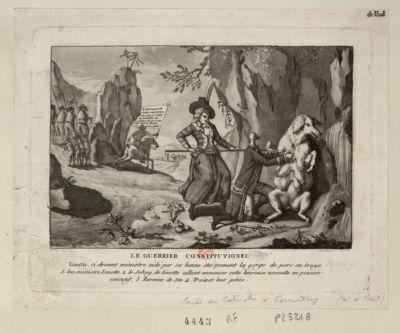 Le  Guerrier constitutionel Linotte, ci devant ministre aidé par sa bonne Sta prenant la gorge de porc en truye... : [estampe]