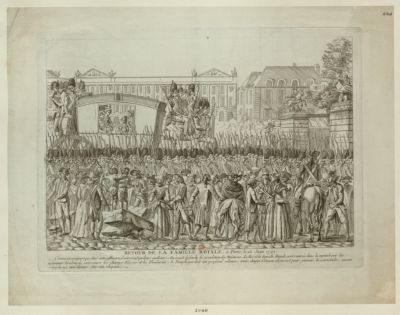 Retour <em>de</em> la famille royale à Paris, le 25 juin 1791 comme <em>on</em> craignoit que dans cette affluence, il n'arriva quelques malheurs on'avoit défendu la circulation des voitures, le roi et la famille royale, sont rentrés dans la capitale par les nouveaux boulvards extérieurs les <em>Champs</em> Elisées et les Thuileries, le peuple gardoit un profond silence, mais chaque citoyen abjurait pour jamais la servitude, aucun citoyen n'a cru devoir ôter son chapeau : [estampe]