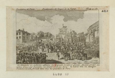 Proclamation du <em>danger</em> de la patrie le dimanche 22 juillet les officiers municipaux montés à cheval... : [estampe]