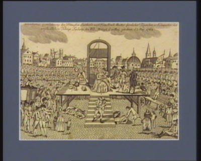 """[...] hautervolle Gouillotinung der Prinzessin Elisabeth von Franckreich, Muster fürstlicher Tugenden <em>u</em>. Schwester des unglücklichen Königs Ludwig des XVI, A.o 1794 d. 10 May"""" gebohren d. 3 May"""" 1764 [estampe]"""