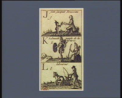 Jj Jean Jacques Rousseau Kk kalmuck peuple de Tartarie ; Ll laboureur : [estampe]