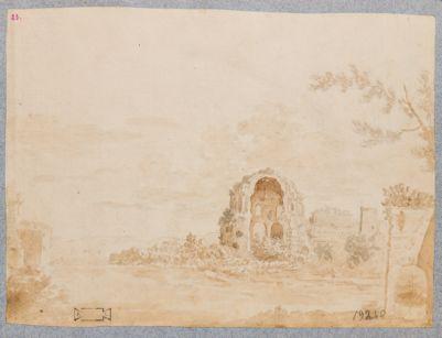 Tempio detto di Minerva Medica con sfondo di campagna