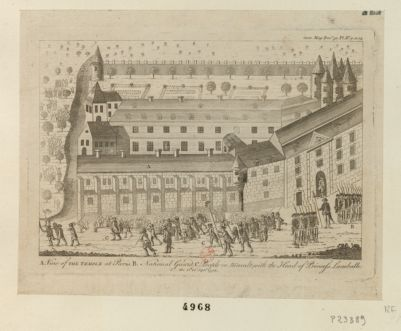 A. View of the Temple at Paris B. National Guard C. People in tumult, with the head of princess Lamballe the 1st of Sept.r <em>1792</em> [estampe]