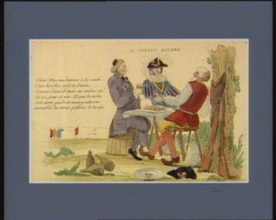 Le  Joyeux accord alon Messieu buvons à la santé d'not bon roi et de la patrie, soyons d'accord mais au moins qu'ce soi pour la vie. Et que la vertu soit notre guide et nous gouterons ensemble les vrais plaisirs de la vie : [estampe]