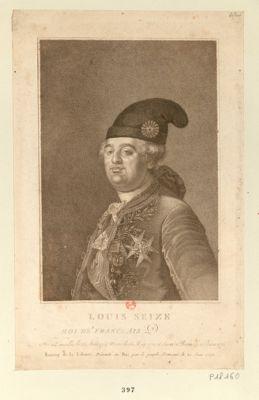 Louis seize roi des Franceais [sic] né à Versailles le 23 aout 1754, marié le 16 may 1770 et sacré a Reims le 11 juin 1775. Bonnet de la liberté, présenté au Roi par le peuple français le 20 juin 1792 : [estampe]