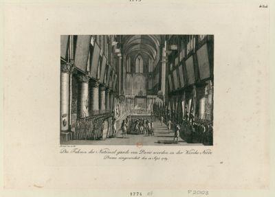Die  Fahnen der National Garde von Paris werden in der Kirche Notre Dame eingeweihet den 12 Sept. 1789 [estampe]
